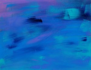 Abstract painting with several shades of blue and light purple.