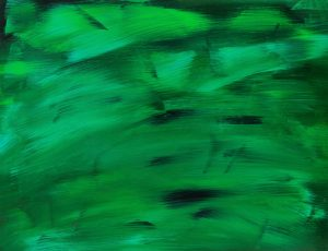 Abstract painting with several shades of green.