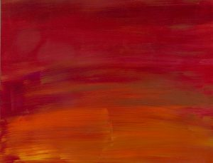 Abstract painting with several shades of red, orange and yellow.
